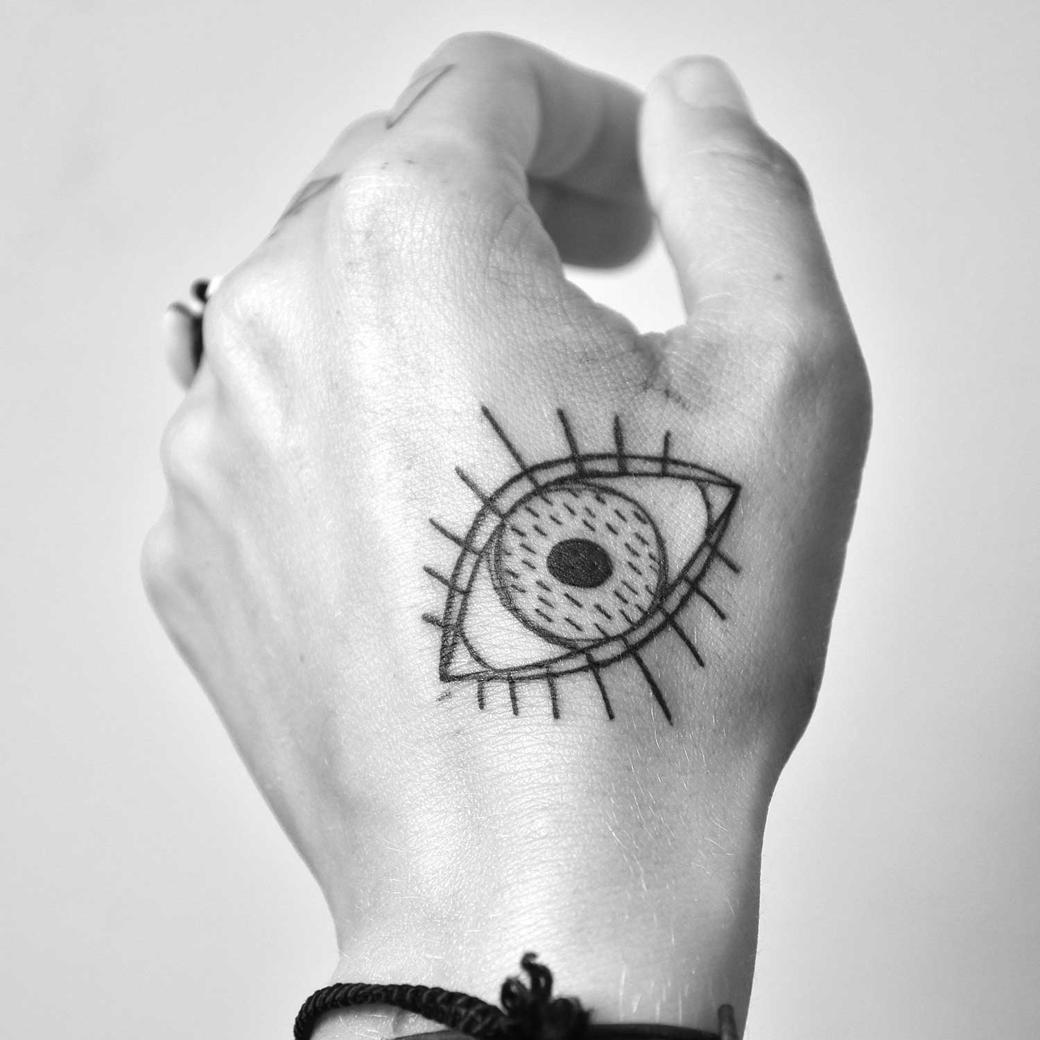 Drawn style eye on hand